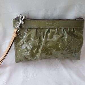 Coach Olive Green Patent Leather clutch/wristlet